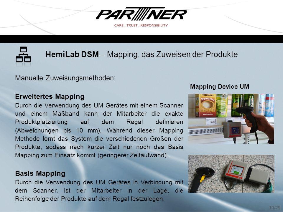 HemiLab DSM – Mapping, das Zuweisen der Produkte Manuelle Zuweisungsmethoden: Erweitertes Mapping Durch die Verwendung des UM Gerätes mit einem Scanne