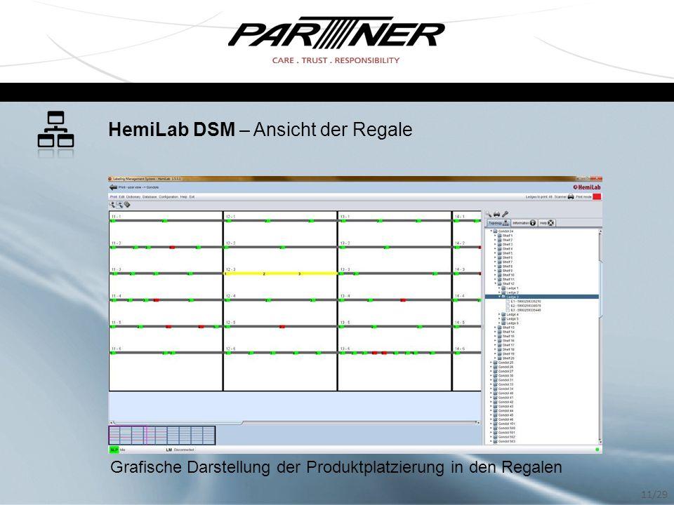 HemiLab DSM – Ansicht der Regale Grafische Darstellung der Produktplatzierung in den Regalen 11/29