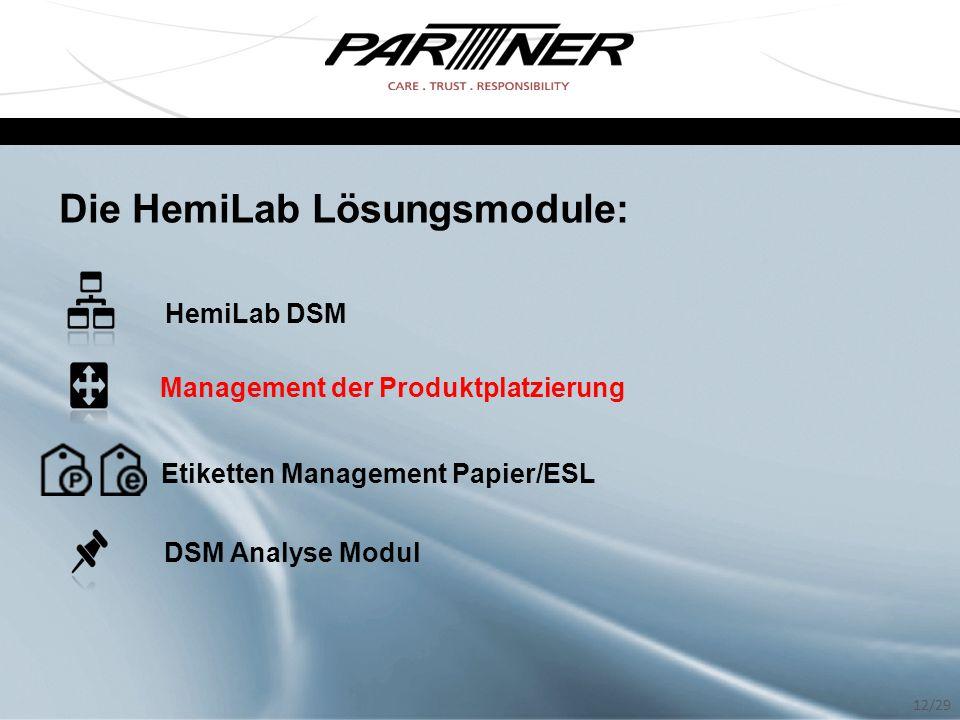 Die HemiLab Lösungsmodule: HemiLab DSM Management der Produktplatzierung Etiketten Management Papier/ESL DSM Analyse Modul 12/29