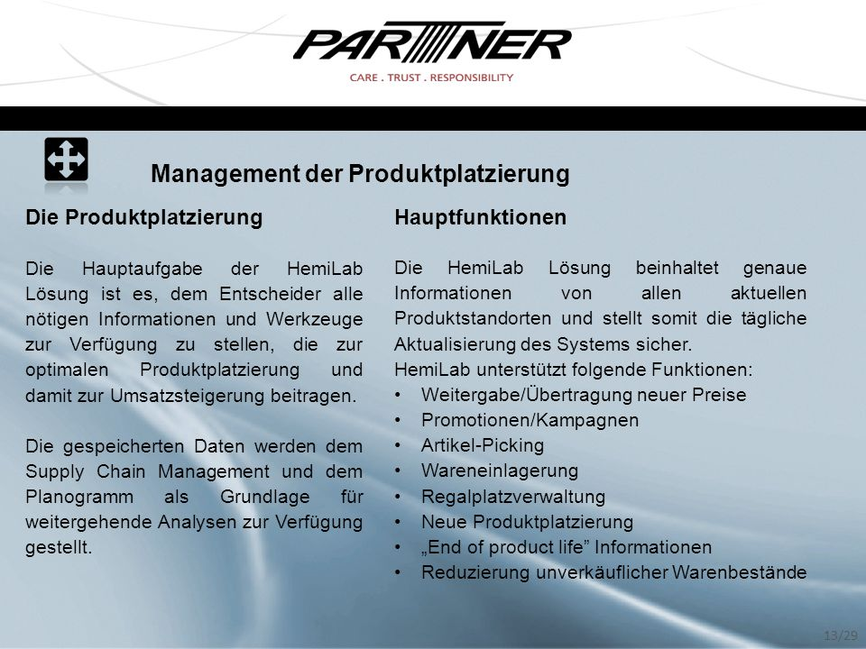 Management der Produktplatzierung Die Produktplatzierung Die Hauptaufgabe der HemiLab Lösung ist es, dem Entscheider alle nötigen Informationen und We
