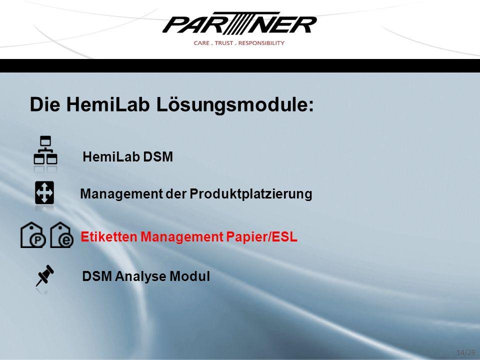 Die HemiLab Lösungsmodule: HemiLab DSM Management der Produktplatzierung Etiketten Management Papier/ESL DSM Analyse Modul 14/29