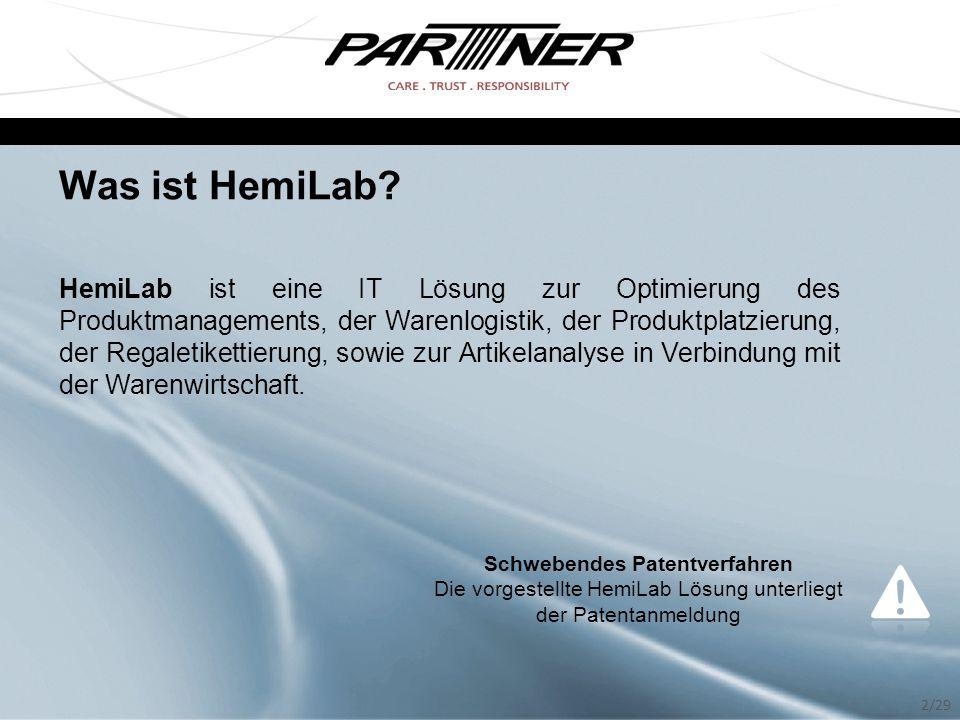 Was ist HemiLab? HemiLab ist eine IT Lösung zur Optimierung des Produktmanagements, der Warenlogistik, der Produktplatzierung, der Regaletikettierung,