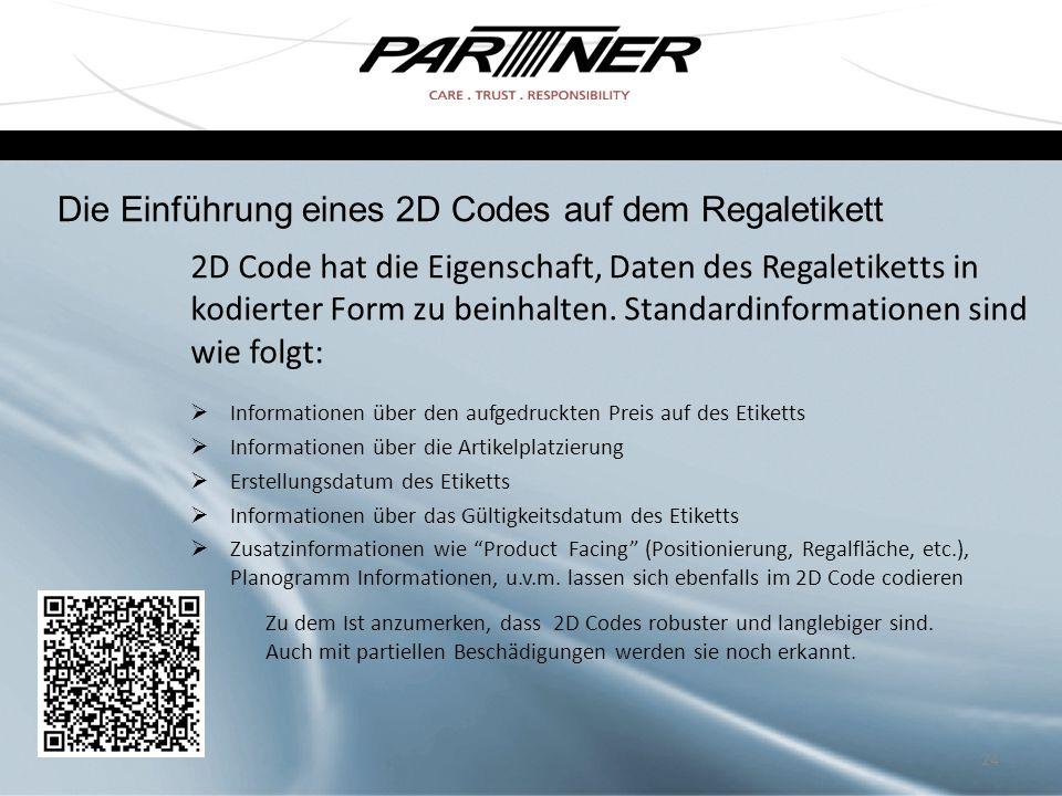 2D Code hat die Eigenschaft, Daten des Regaletiketts in kodierter Form zu beinhalten. Standardinformationen sind wie folgt:  Informationen über den a