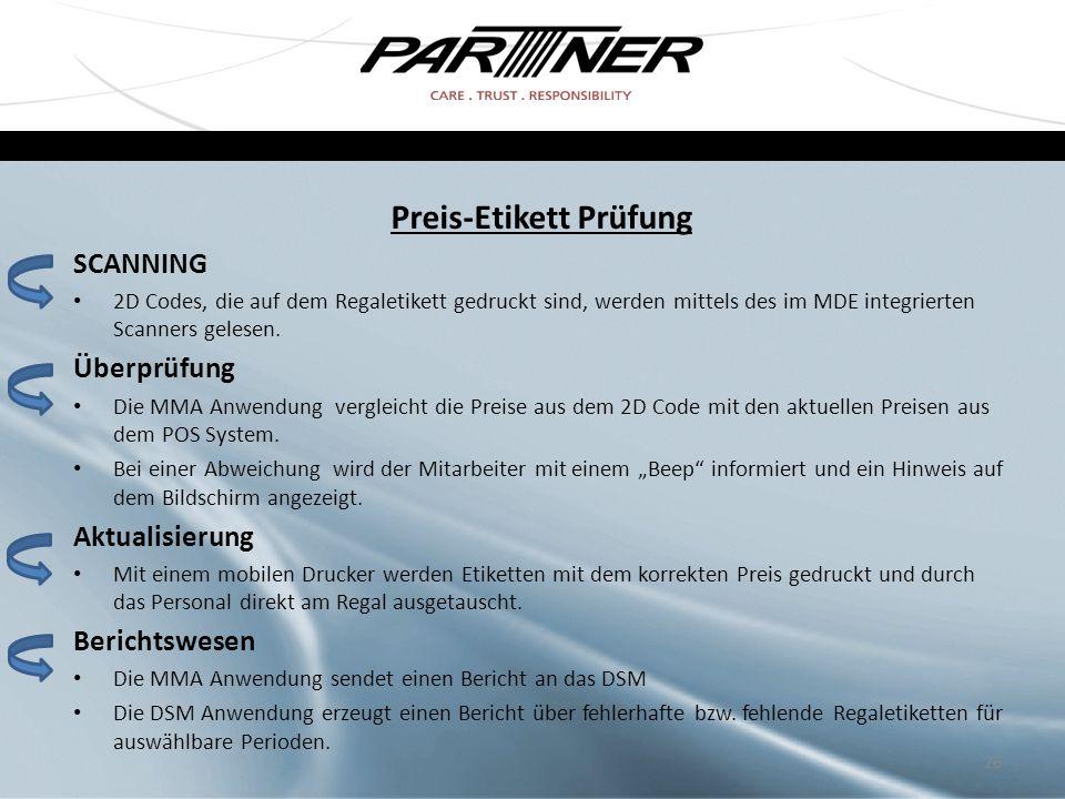 Preis-Etikett Prüfung SCANNING 2D Codes, die auf dem Regaletikett gedruckt sind, werden mittels des im MDE integrierten Scanners gelesen. Überprüfung