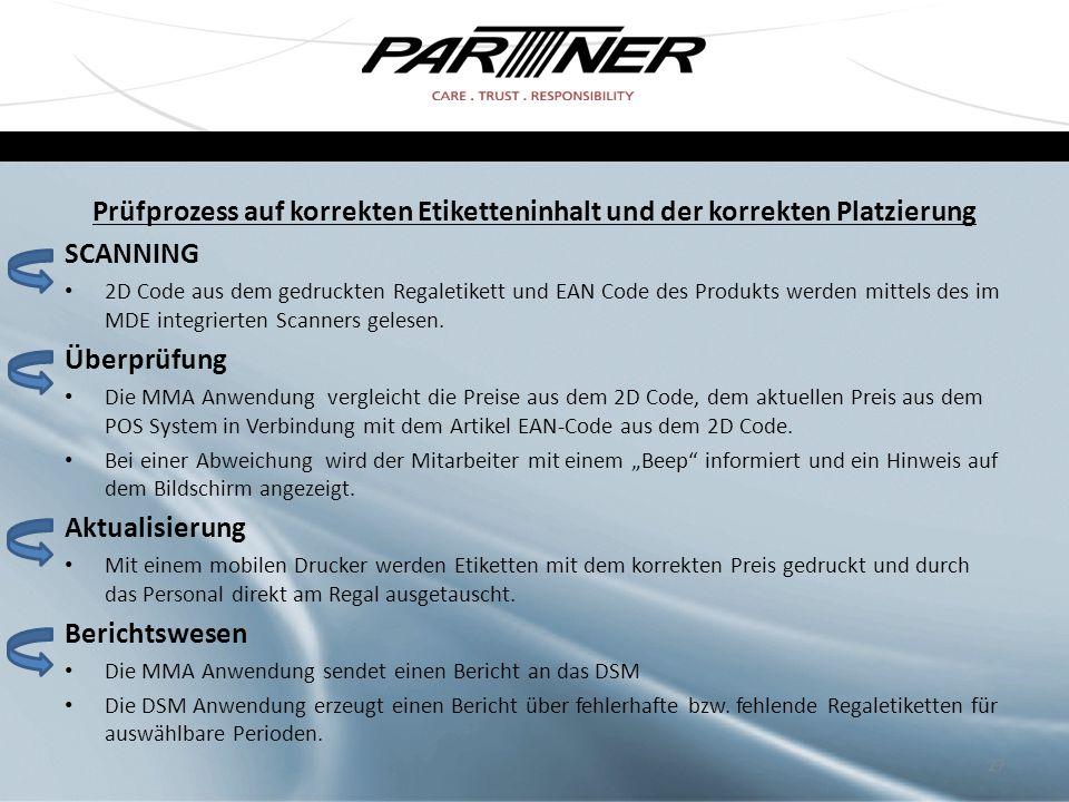 Prüfprozess auf korrekten Etiketteninhalt und der korrekten Platzierung SCANNING 2D Code aus dem gedruckten Regaletikett und EAN Code des Produkts wer