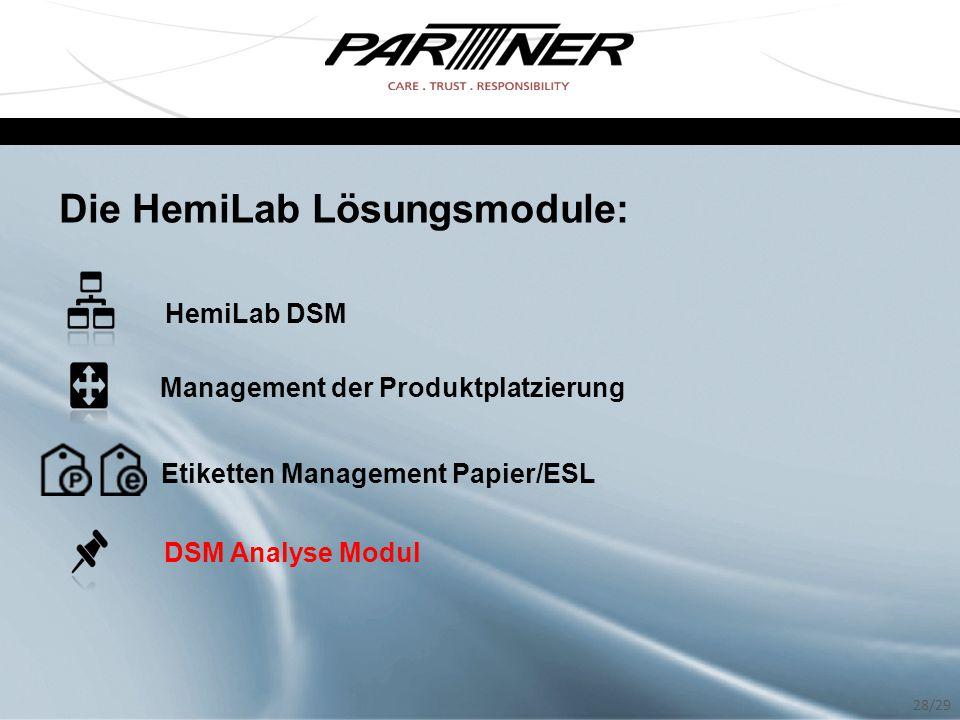 Die HemiLab Lösungsmodule: HemiLab DSM Management der Produktplatzierung Etiketten Management Papier/ESL DSM Analyse Modul 28/29