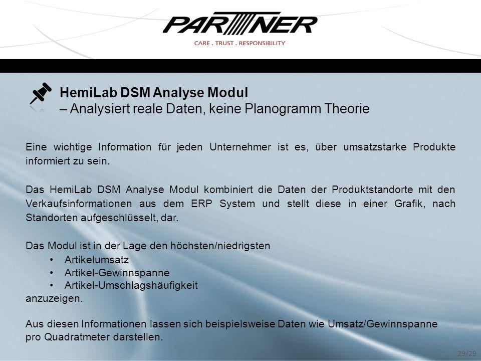 HemiLab DSM Analyse Modul – Analysiert reale Daten, keine Planogramm Theorie Eine wichtige Information für jeden Unternehmer ist es, über umsatzstarke