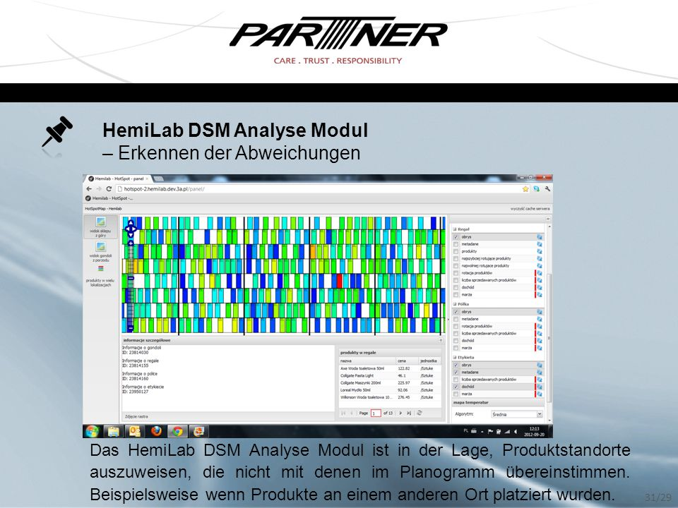 HemiLab DSM Analyse Modul – Erkennen der Abweichungen Das HemiLab DSM Analyse Modul ist in der Lage, Produktstandorte auszuweisen, die nicht mit denen