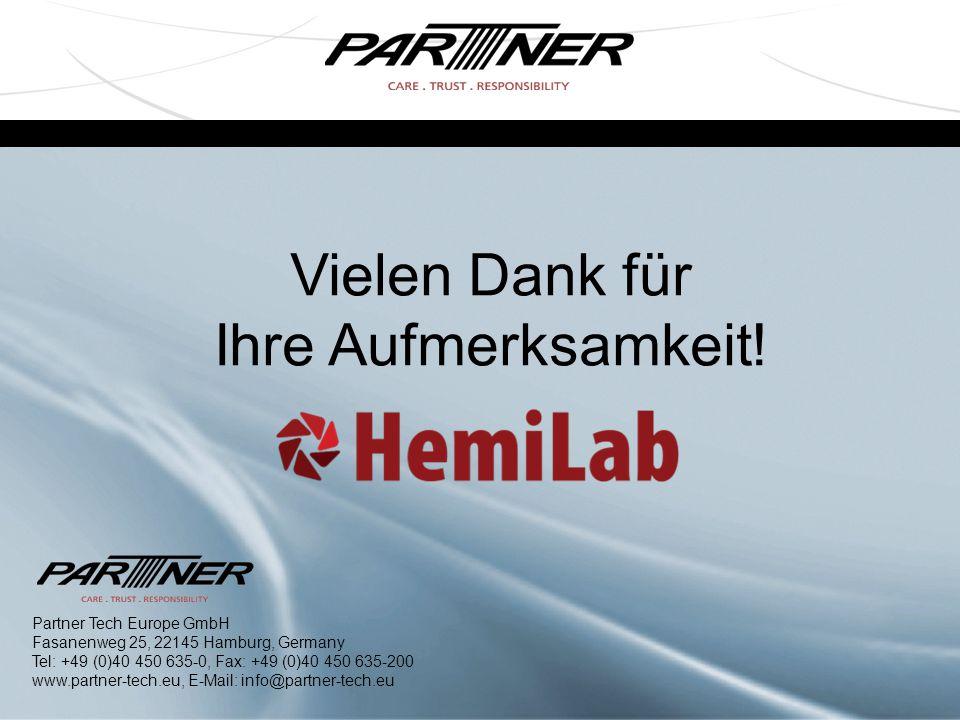 Vielen Dank für Ihre Aufmerksamkeit! Partner Tech Europe GmbH Fasanenweg 25, 22145 Hamburg, Germany Tel: +49 (0)40 450 635-0, Fax: +49 (0)40 450 635-2