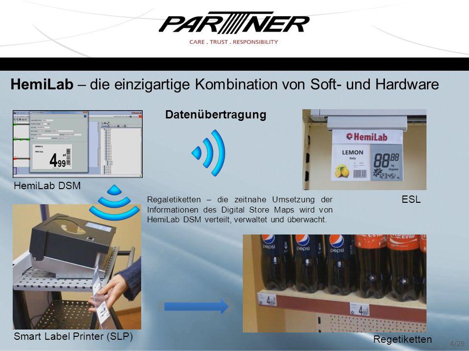 HemiLab DSM ESL Smart Label Printer (SLP) Regetiketten Regaletiketten – die zeitnahe Umsetzung der Informationen des Digital Store Maps wird von HemiL