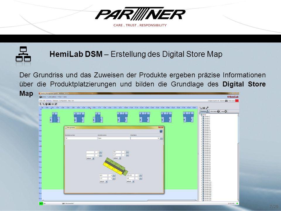 HemiLab DSM – Erstellung des Digital Store Map Der Grundriss und das Zuweisen der Produkte ergeben präzise Informationen über die Produktplatzierungen