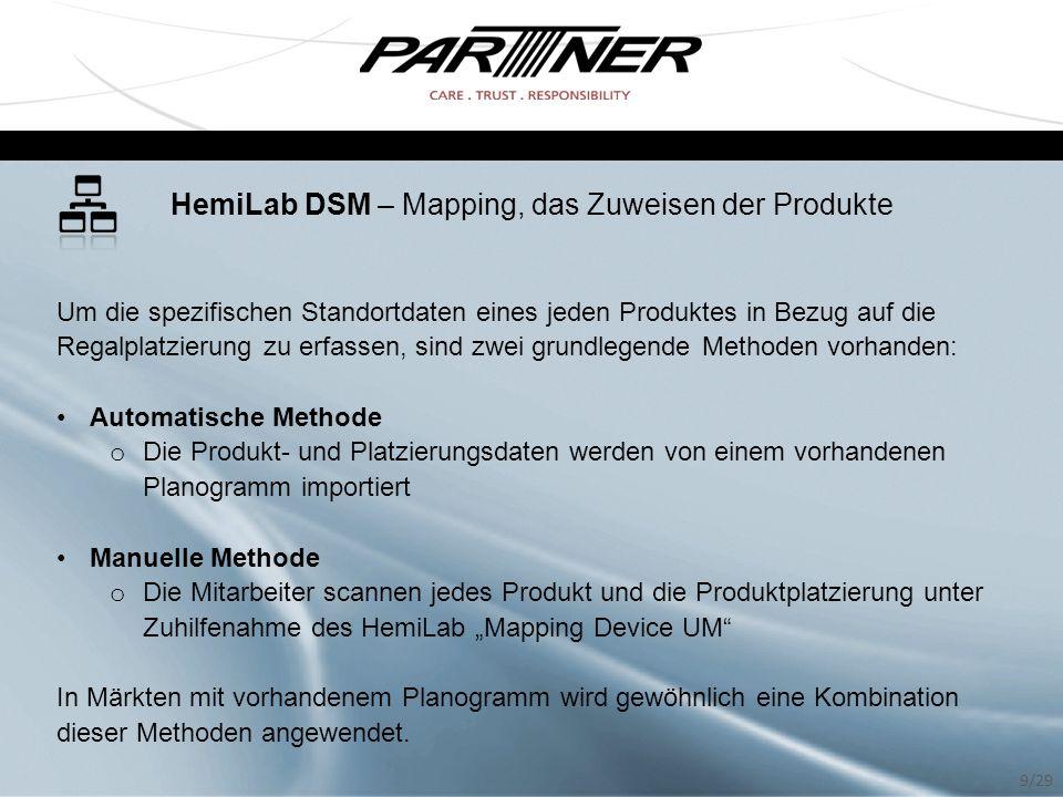 HemiLab DSM – Mapping, das Zuweisen der Produkte Um die spezifischen Standortdaten eines jeden Produktes in Bezug auf die Regalplatzierung zu erfassen