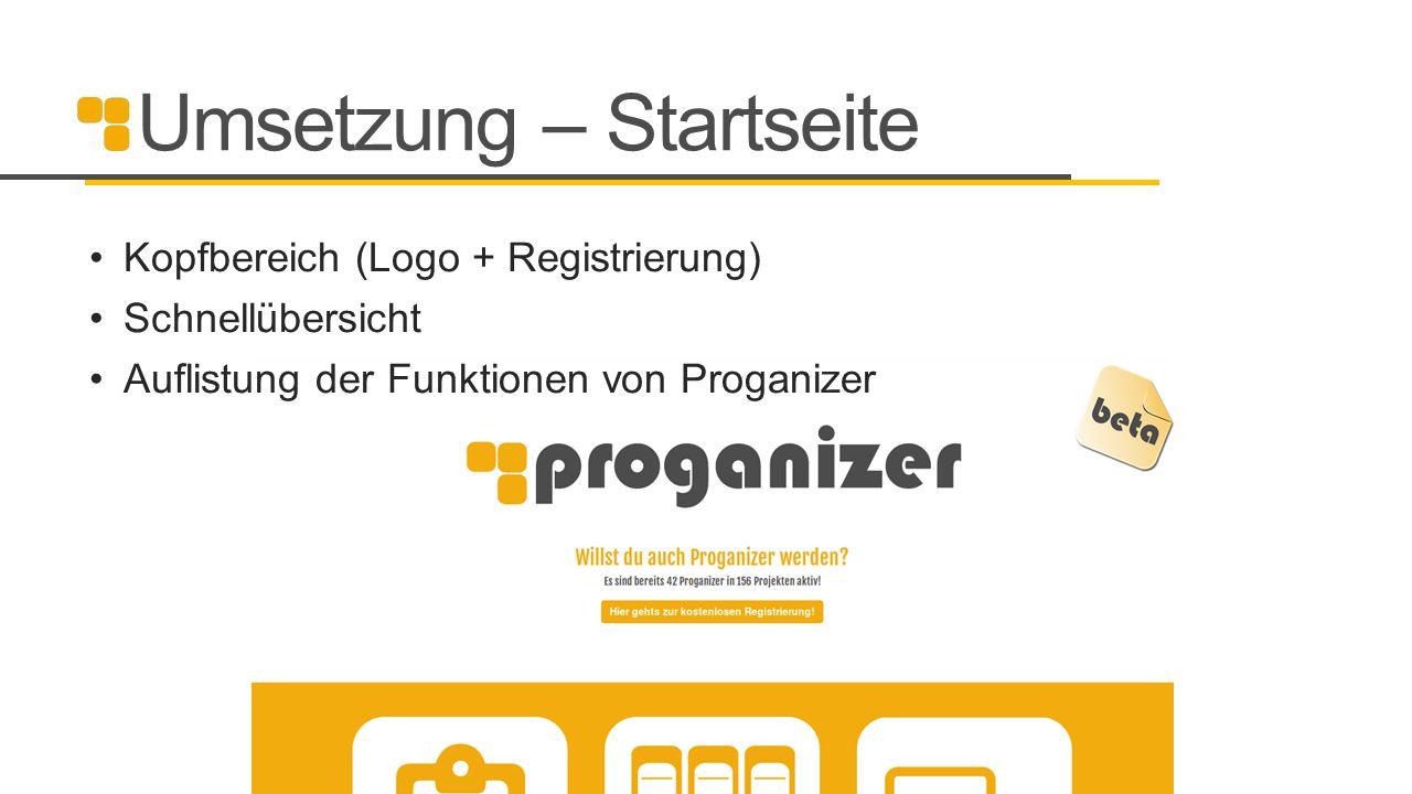 Umsetzung – Startseite Kopfbereich (Logo + Registrierung) Schnellübersicht Auflistung der Funktionen von Proganizer