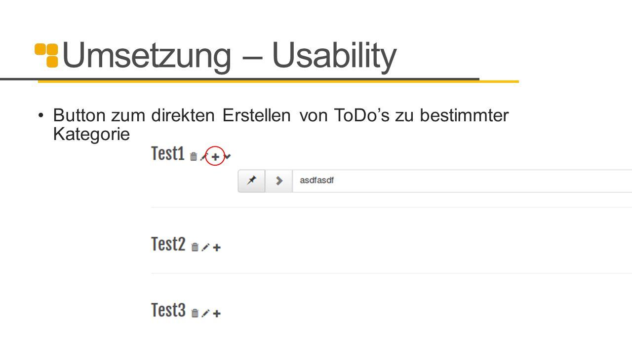 Umsetzung – Usability Button zum direkten Erstellen von ToDo's zu bestimmter Kategorie