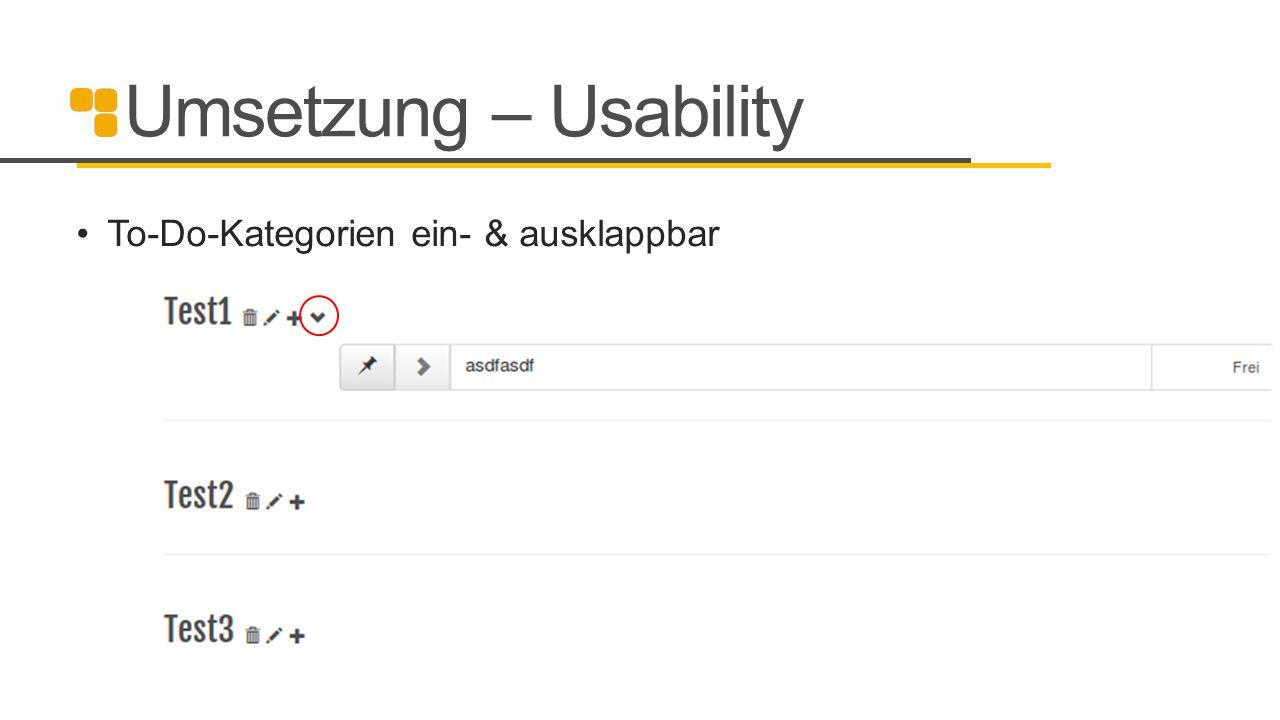 Umsetzung – Usability To-Do-Kategorien ein- & ausklappbar