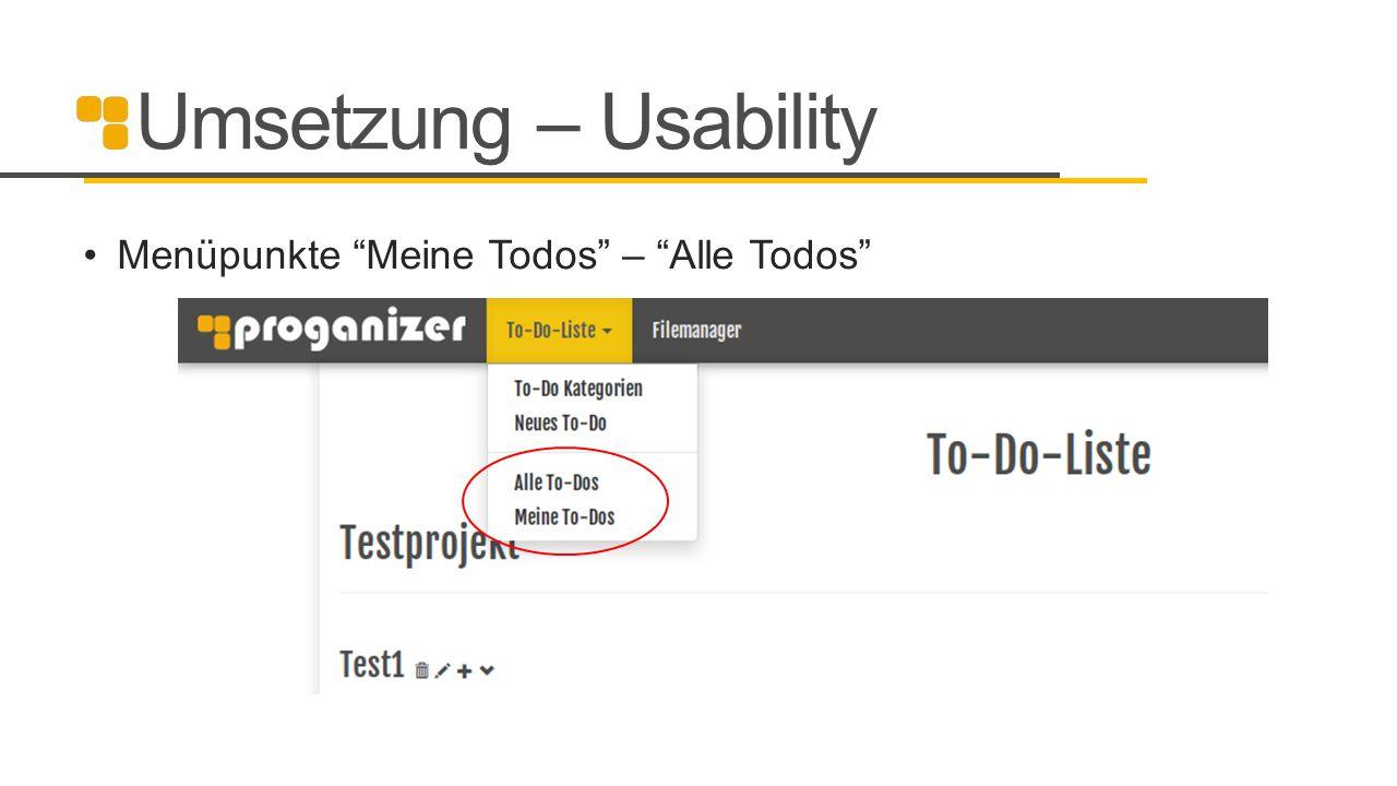 """Umsetzung – Usability Menüpunkte """"Meine Todos"""" – """"Alle Todos"""""""
