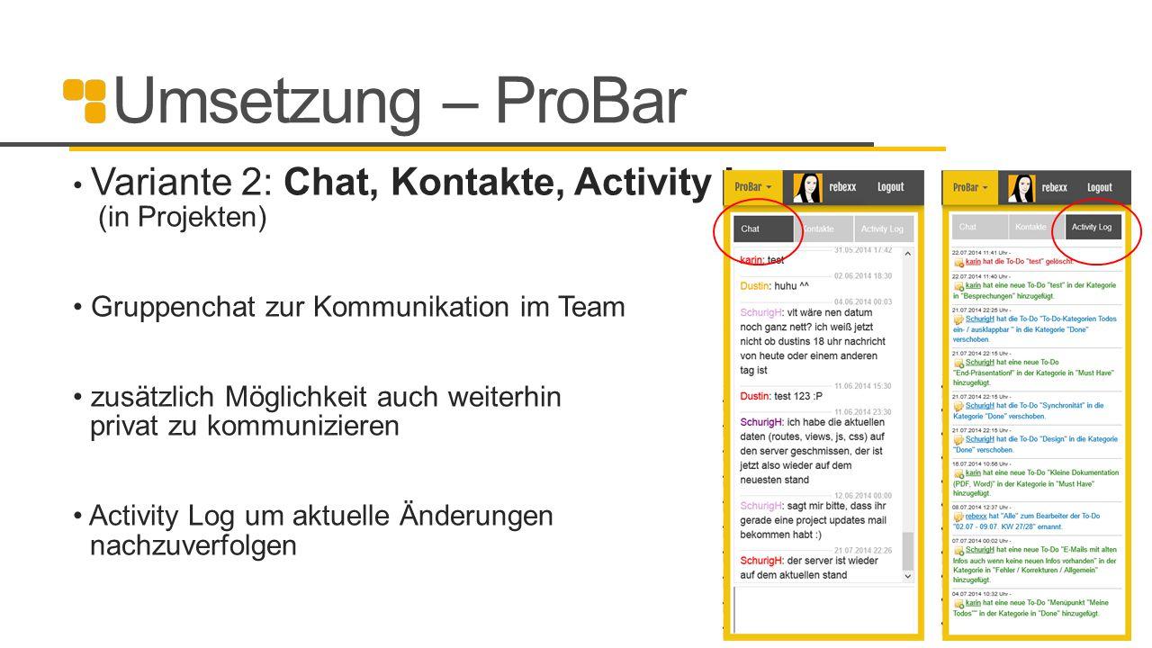 Umsetzung – ProBar Variante 2: Chat, Kontakte, Activity Log (in Projekten) Gruppenchat zur Kommunikation im Team zusätzlich Möglichkeit auch weiterhin