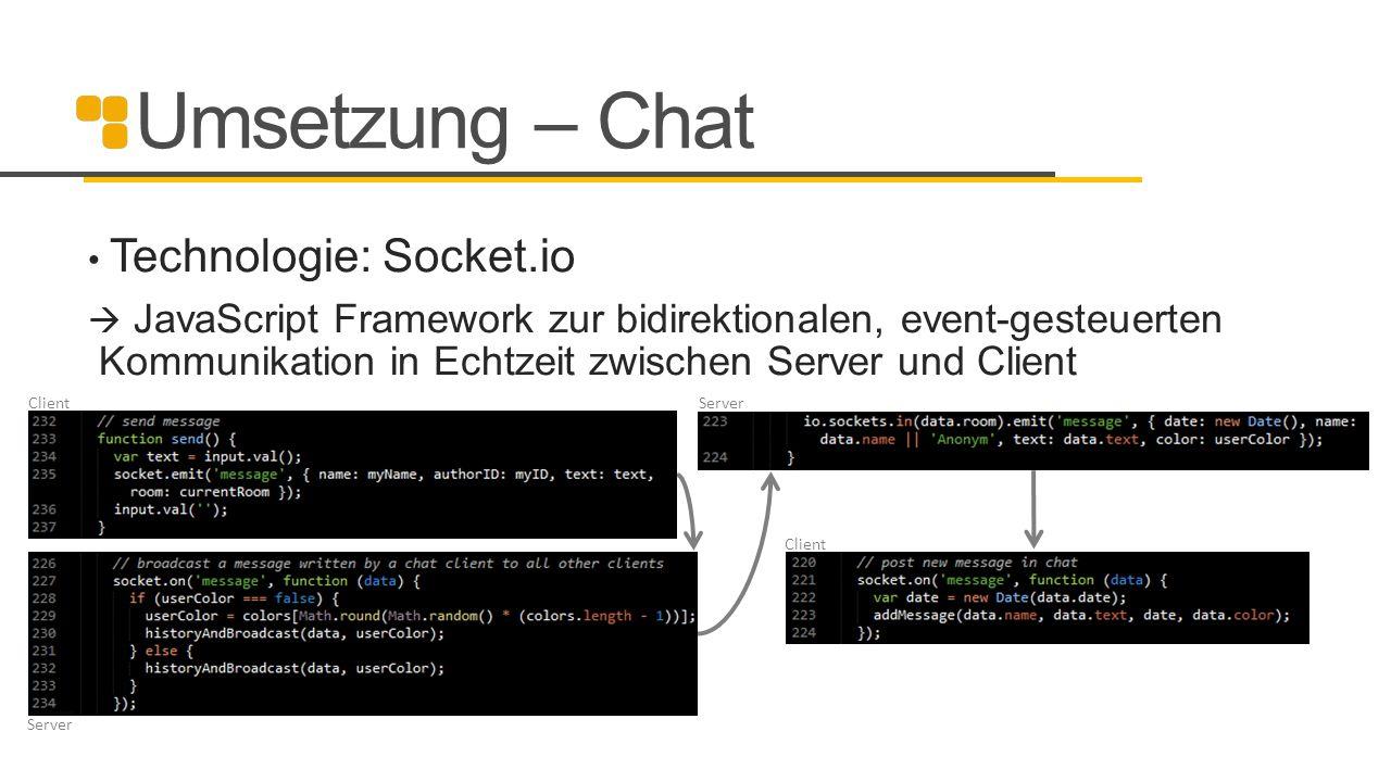 Umsetzung – Chat Technologie: Socket.io  JavaScript Framework zur bidirektionalen, event-gesteuerten Kommunikation in Echtzeit zwischen Server und Cl