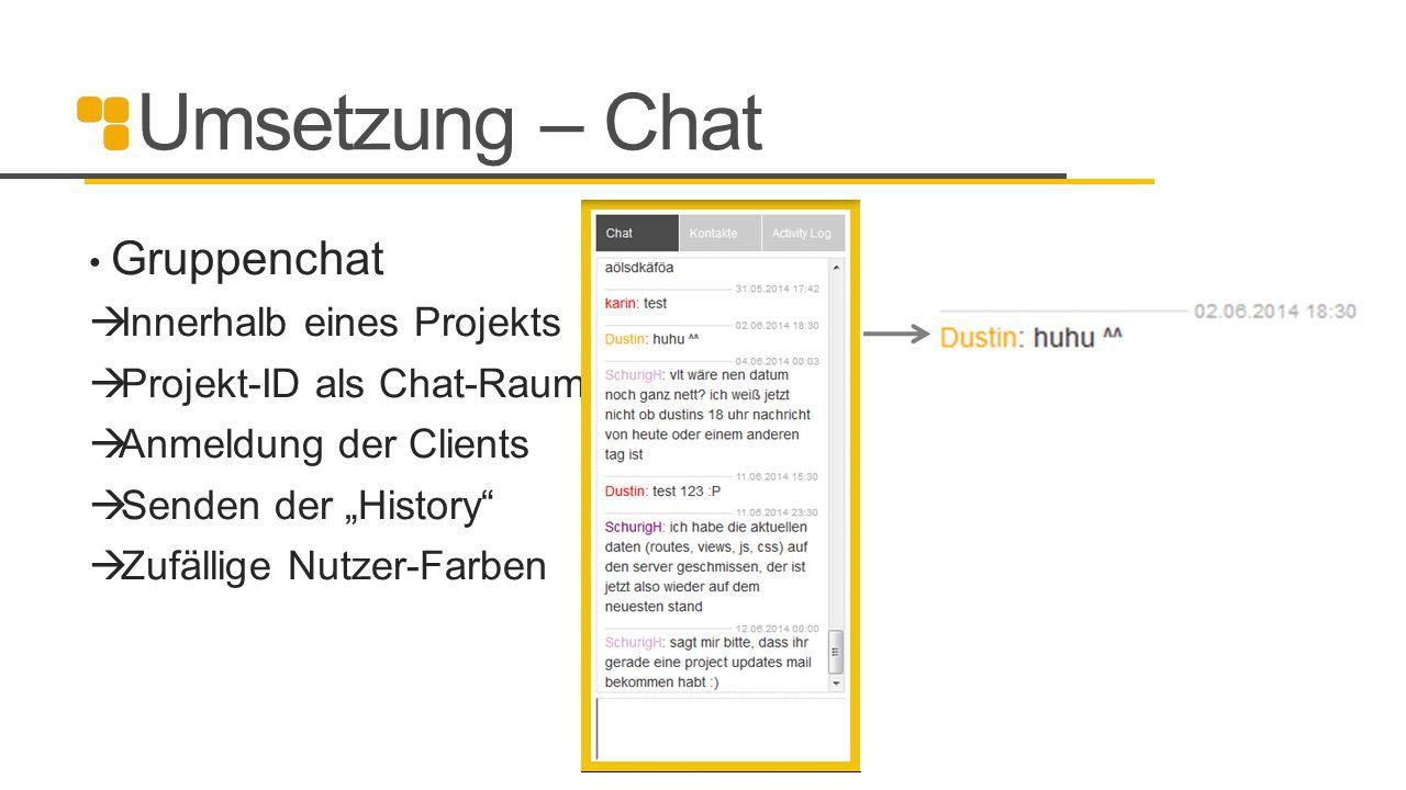"""Umsetzung – Chat Gruppenchat  Innerhalb eines Projekts  Projekt-ID als Chat-Raum  Anmeldung der Clients  Senden der """"History""""  Zufällige Nutzer-F"""