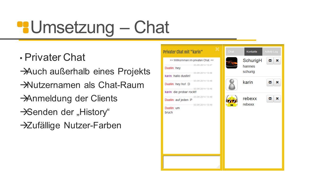"""Umsetzung – Chat Privater Chat  Auch außerhalb eines Projekts  Nutzernamen als Chat-Raum  Anmeldung der Clients  Senden der """"History""""  Zufällige"""