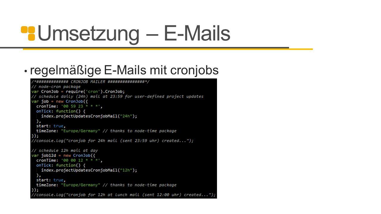 Umsetzung – E-Mails regelmäßige E-Mails mit cronjobs