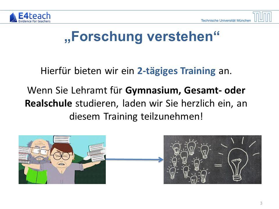 "4 Das Training ""Forschung verstehen Termine: – 30./31.1.15 (Fr/Sa) – 2./3.2.15 (Mo/Di) – 20./21.2.15 (Fr/Sa) – 30./31.3.15 (Mo/Di) Ort: Universität Regensburg Nähere Infos: http://www.ebf.edu.tum.de/forschung/projekt- e4teach/trainings/http://www.ebf.edu.tum.de/forschung/projekt- e4teach/trainings/ Kontakt:Sandra Wenglein Mail: sandra.wenglein@tum.de Tel: 089/289 23213 www.ebf.edu.tum.de jeweils von 9.00 – 16.00 Uhr"