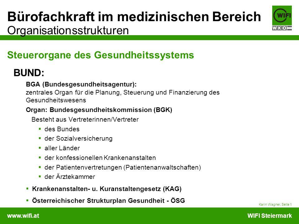 www.wifi.atWIFI Steiermark Bürofachkraft im medizinischen Bereich Organisationsstrukturen Steuerorgane des Gesundheitssystems Karin Wagner, Seite 1 BU