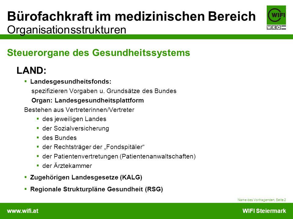 www.wifi.atWIFI Steiermark Bürofachkraft im medizinischen Bereich Organisationsstrukturen Name des Vortragenden, Seite 2 Steuerorgane des Gesundheitss