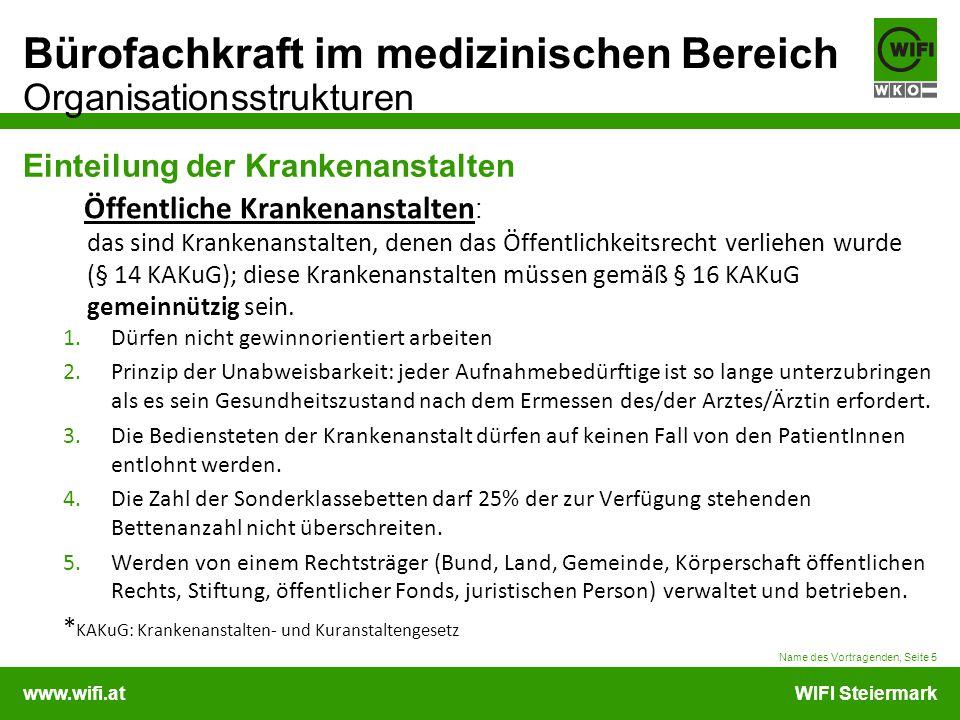 www.wifi.atWIFI Steiermark Bürofachkraft im medizinischen Bereich Organisationsstrukturen Einteilung der Krankenanstalten Öffentliche Krankenanstalten