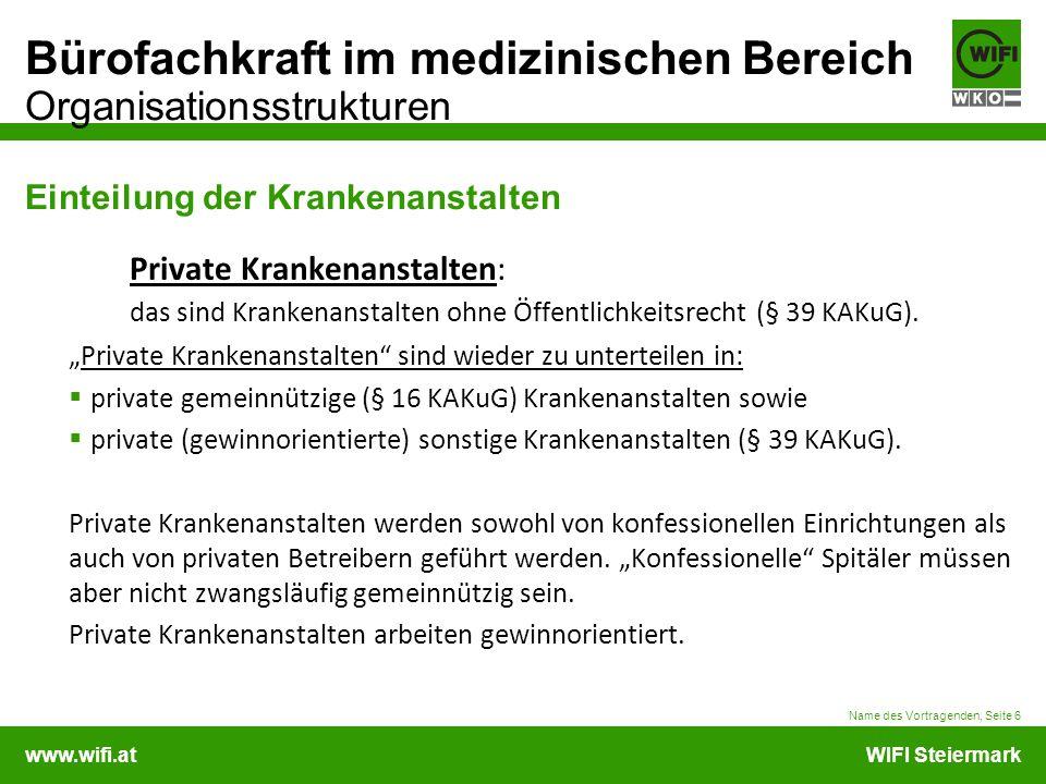 www.wifi.atWIFI Steiermark Bürofachkraft im medizinischen Bereich Organisationsstrukturen Einteilung der Krankenanstalten Private Krankenanstalten: da