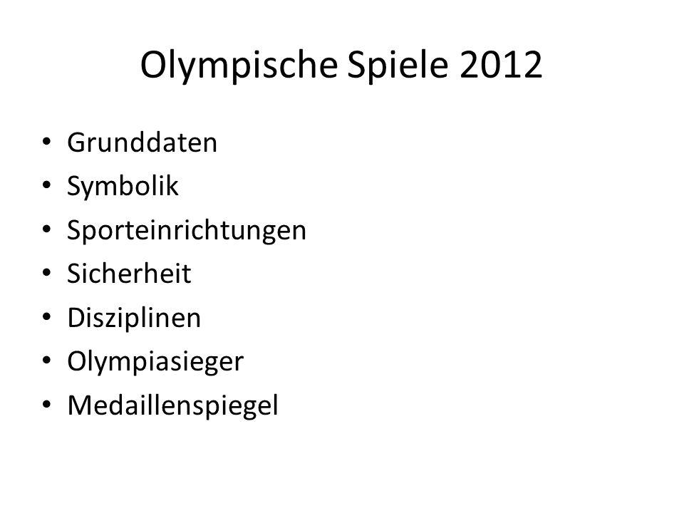 Olympische Spiele 2012 Grunddaten Symbolik Sporteinrichtungen Sicherheit Disziplinen Olympiasieger Medaillenspiegel