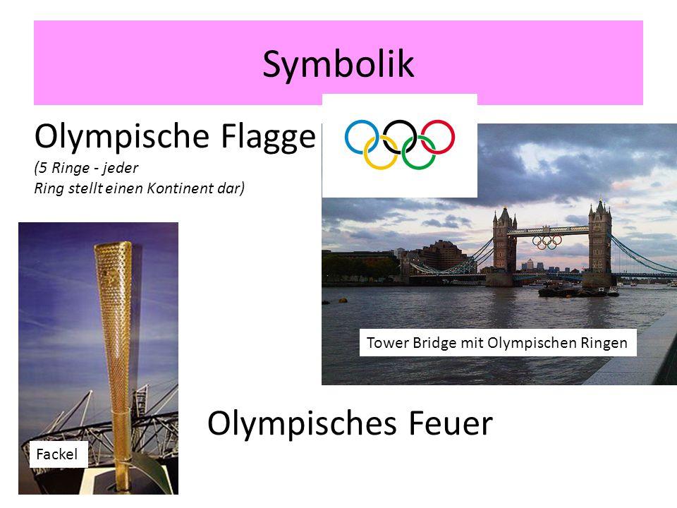Symbolik Tower Bridge mit Olympischen Ringen Olympische Flagge (5 Ringe - jeder Ring stellt einen Kontinent dar) Olympisches Feuer Fackel