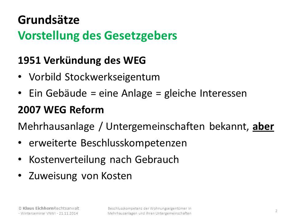Grundsätze Vorstellung des Gesetzgebers 1951 Verkündung des WEG Vorbild Stockwerkseigentum Ein Gebäude = eine Anlage = gleiche Interessen 2007 WEG Ref