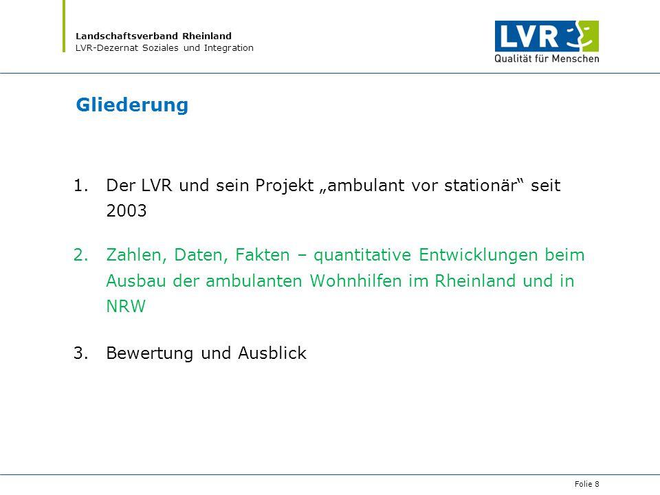 """Landschaftsverband Rheinland LVR-Dezernat Soziales und Integration Gliederung 1.Der LVR und sein Projekt """"ambulant vor stationär"""" seit 2003 2.Zahlen,"""