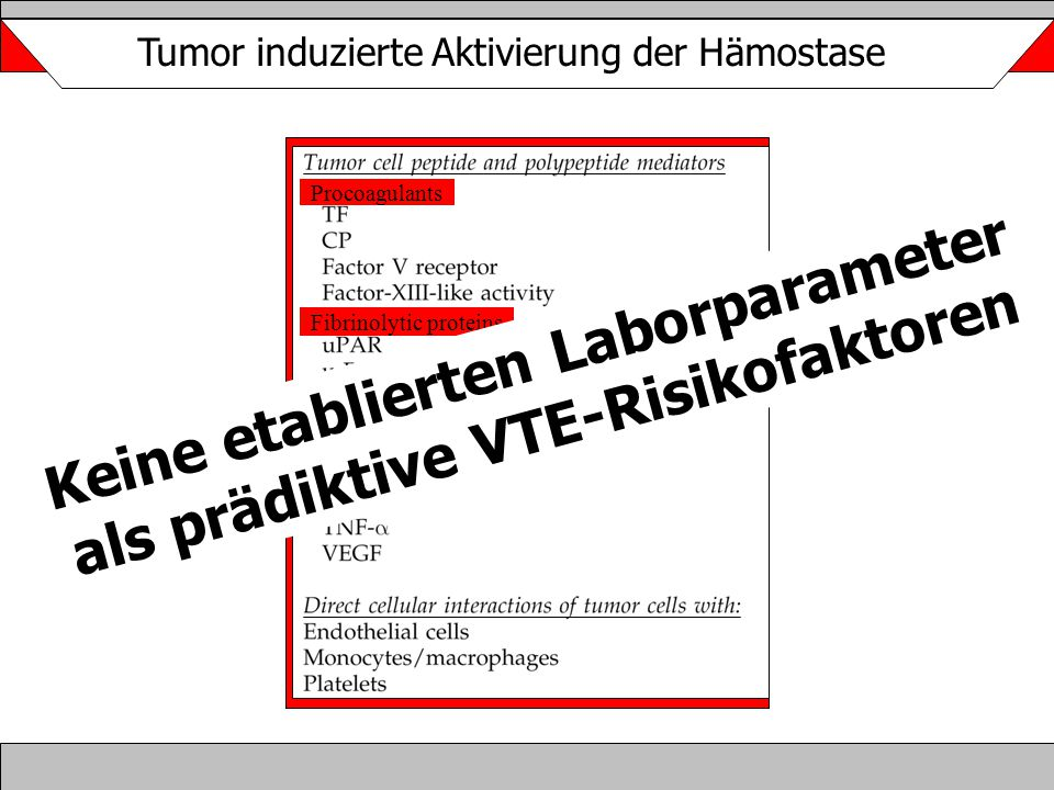 Tumor induzierte Aktivierung der Hämostase Procoagulants Fibrinolytic proteins Cytokines Keine etablierten Laborparameter als prädiktive VTE-Risikofak