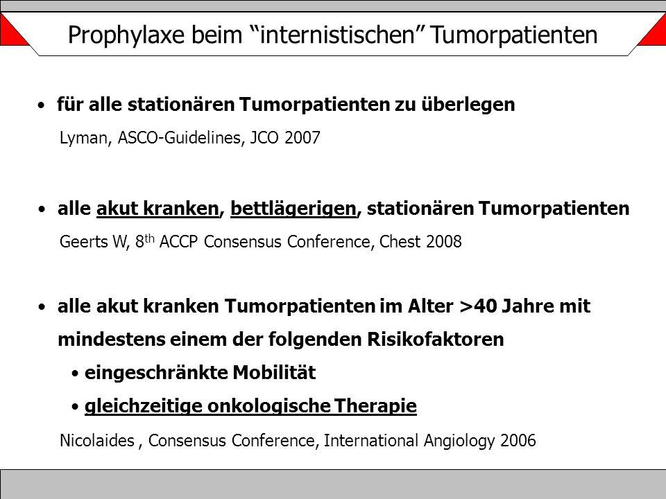 """Prophylaxe beim """"internistischen"""" Tumorpatienten alle akut kranken, bettlägerigen, stationären Tumorpatienten Geerts W, 8 th ACCP Consensus Conference"""