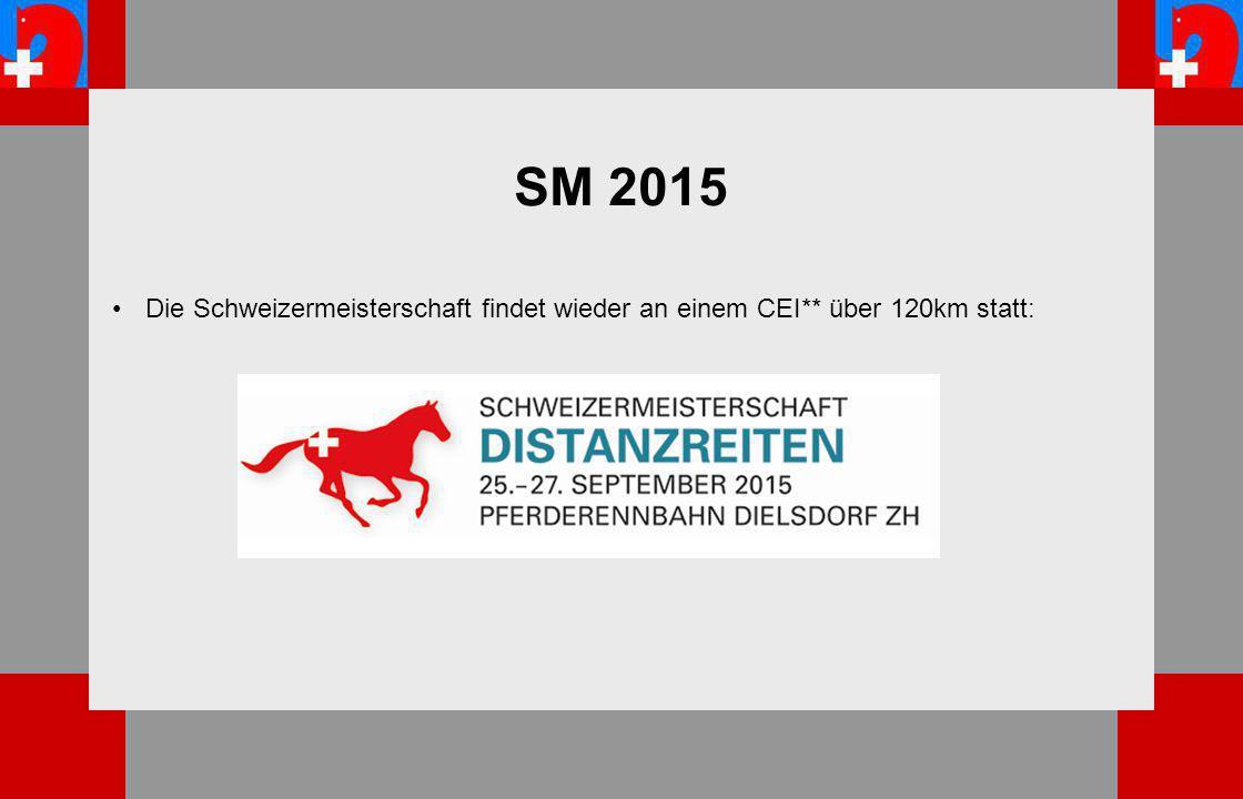 SM 2015 Die Schweizermeisterschaft findet wieder an einem CEI** über 120km statt: