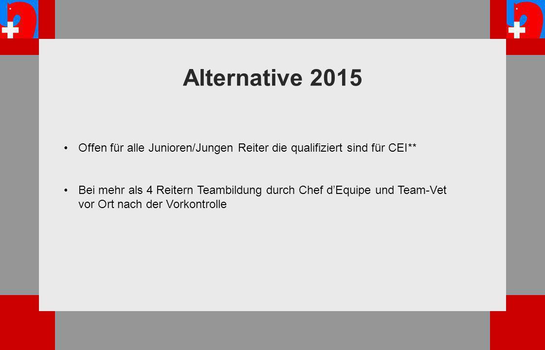 Alternative 2015 Offen für alle Junioren/Jungen Reiter die qualifiziert sind für CEI** Bei mehr als 4 Reitern Teambildung durch Chef d'Equipe und Team-Vet vor Ort nach der Vorkontrolle