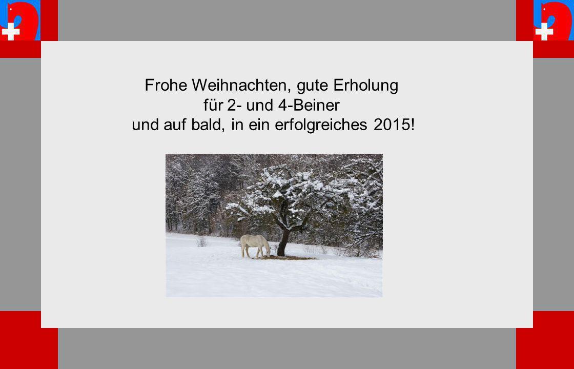 Frohe Weihnachten, gute Erholung für 2- und 4-Beiner und auf bald, in ein erfolgreiches 2015!