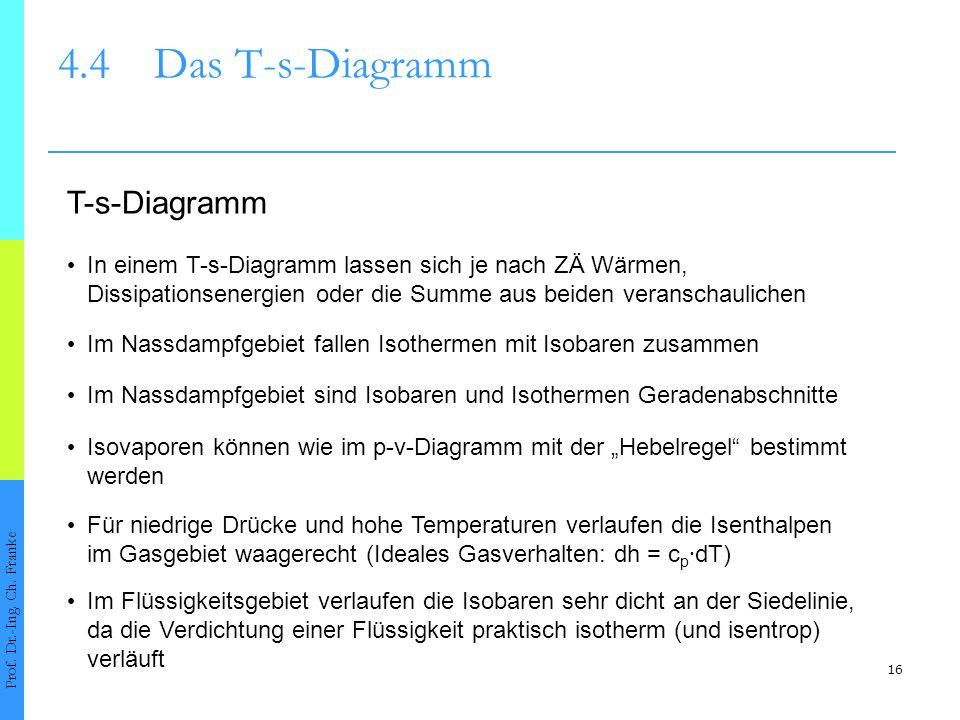 16 4.4Das T-s-Diagramm Prof. Dr.-Ing. Ch. Franke In einem T-s-Diagramm lassen sich je nach ZÄ Wärmen, Dissipationsenergien oder die Summe aus beiden v
