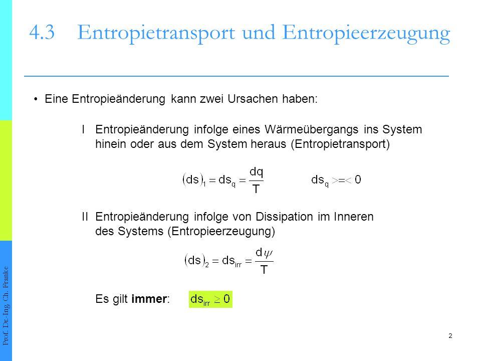 2 4.3Entropietransport und Entropieerzeugung Prof. Dr.-Ing. Ch. Franke Eine Entropieänderung kann zwei Ursachen haben: II Entropieänderung infolge von