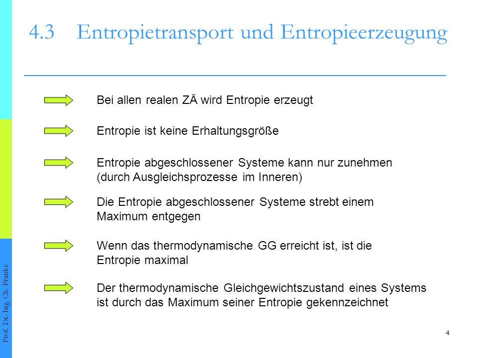 4 4.3Entropietransport und Entropieerzeugung Prof. Dr.-Ing. Ch. Franke Wenn das thermodynamische GG erreicht ist, ist die Entropie maximal Entropie ab