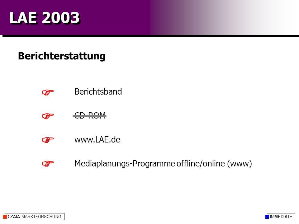 IMMEDIATECZAIA MARKTFORSCHUNG LAE 2003 Berichterstattung Berichtsband CD-ROM www.LAE.de Mediaplanungs-Programme offline/online (www)    