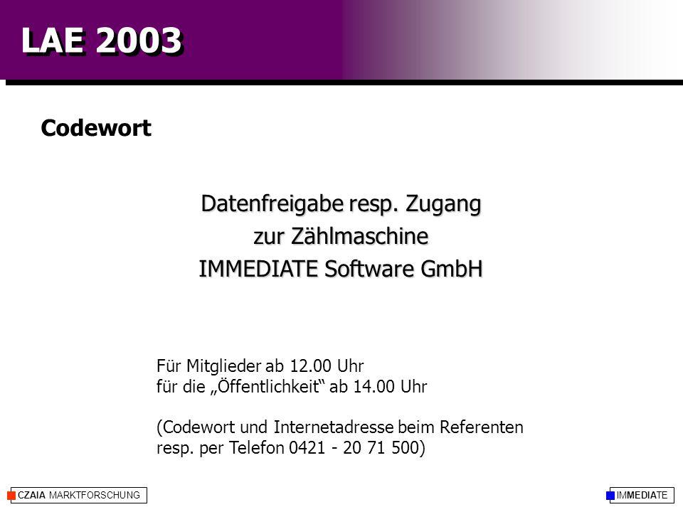 """IMMEDIATECZAIA MARKTFORSCHUNG LAE 2003 Für Mitglieder ab 12.00 Uhr für die """"Öffentlichkeit"""" ab 14.00 Uhr (Codewort und Internetadresse beim Referenten"""