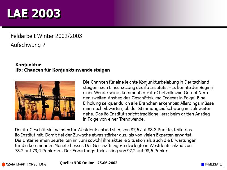 IMMEDIATECZAIA MARKTFORSCHUNG LAE 2003 Feldarbeit Winter 2002/2003 Aufschwung ? Die Chancen für eine leichte Konjunkturbelebung in Deutschland steigen