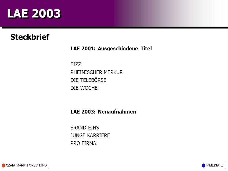 IMMEDIATECZAIA MARKTFORSCHUNG LAE 2003 Steckbrief LAE 2001: Ausgeschiedene Titel BIZZ RHEINISCHER MERKUR DIE TELEBÖRSE DIE WOCHE LAE 2003: Neuaufnahme