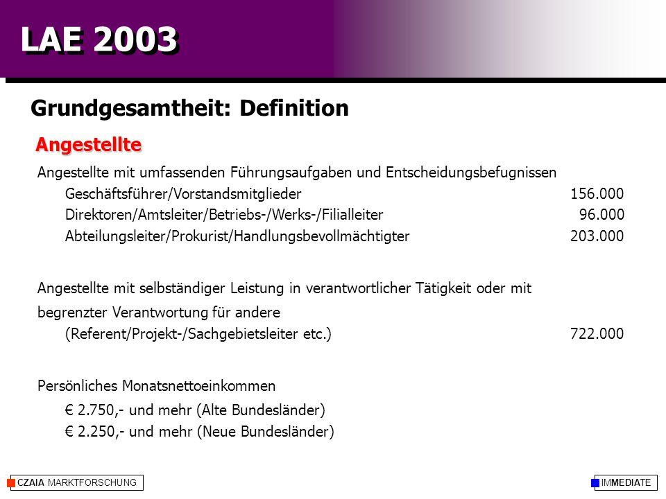 IMMEDIATECZAIA MARKTFORSCHUNG LAE 2003 Grundgesamtheit: Definition Angestellte Angestellte mit umfassenden Führungsaufgaben und Entscheidungsbefugniss