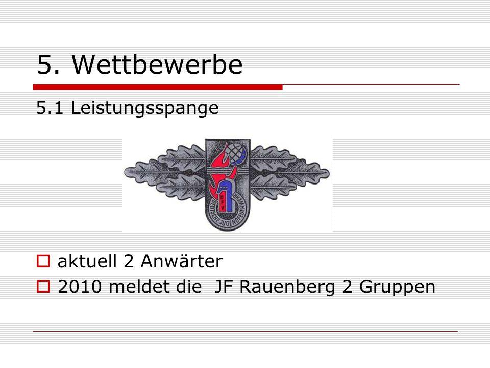 5. Wettbewerbe 5.1 Leistungsspange  aktuell 2 Anwärter  2010 meldet die JF Rauenberg 2 Gruppen