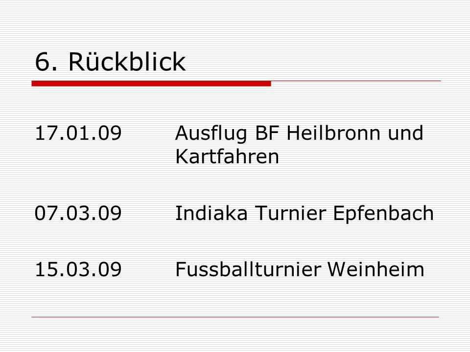 6. Rückblick 17.01.09 Ausflug BF Heilbronn und Kartfahren 07.03.09 Indiaka Turnier Epfenbach 15.03.09 Fussballturnier Weinheim