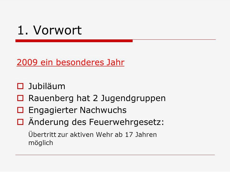 1. Vorwort 2009 ein besonderes Jahr  Jubiläum  Rauenberg hat 2 Jugendgruppen  Engagierter Nachwuchs  Änderung des Feuerwehrgesetz: Übertritt zur a